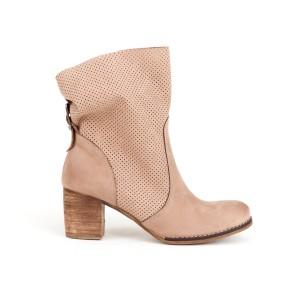 Originální dámské kožené kotníkové boty v růžové barvě
