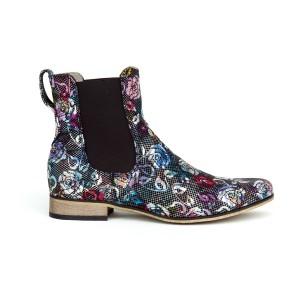 Luxusní dámské černé kožené kotníkové boty s potiskem květů