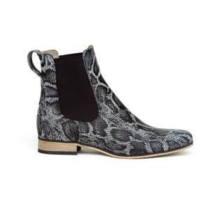Trendy dámské černé kotníkové kožené boty s módním designem