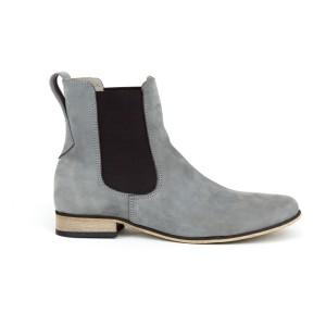 Moderní dámské kožené kotníkové boty v šedé barvě s boční gumou