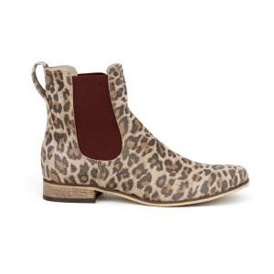 Extravagantní dámské kožené kotníkové boty leopardí