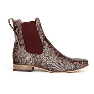 Originální dámské kožené hnědé kotníkové boty s hadím vzorem