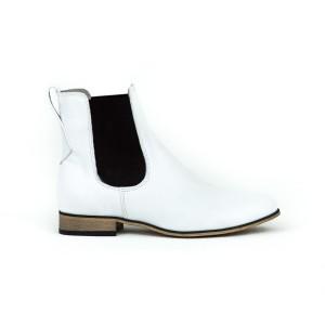 Stylové dámské bílé kožené boty nasouvací s boční gumou