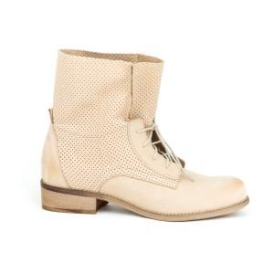 Originální dámské béžové kožené boty s trendy designem šněrování