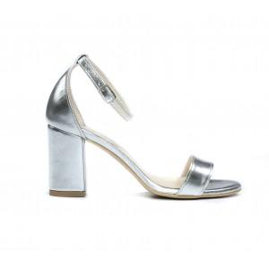 Společenské dámské kožené stříbrné sandálky s páskem