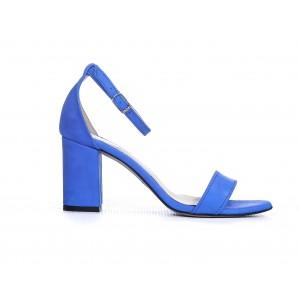 Elegantní dámské kožené sandály safírově modré na plném podpatku