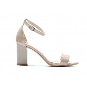 Béžové dámské kožené lakované sandálky na módním plném podpatku
