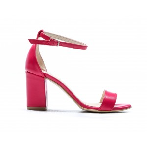 Cyklámenová růžové dámské letní kožené sandály s páskem