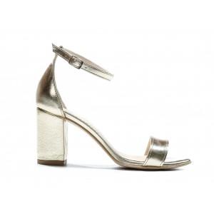 Luxusní dámské kožené sandály ve zlaté barvě a vysokém podpatku