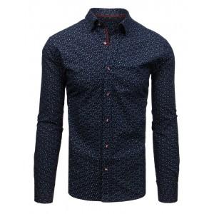 Moderní pánská tmavě modrá košile v slim střihu s jemným vzorem