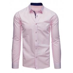 Stylová pánská košile v růžové barvě s dlouhým rukávem a potiskem