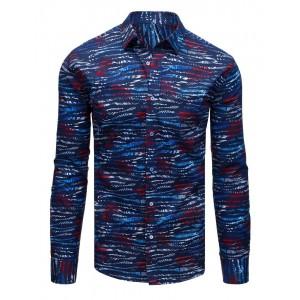 Moderní tmavě modrá pánská košile s originálním potiskem