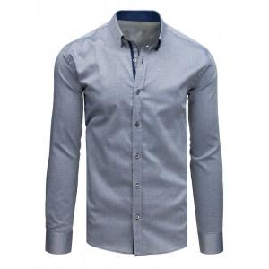 Pánská košile s dlouhým rukávem v slim střihu a v šedé barvě
