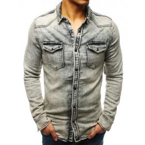 Stylová pánská riflová košile v šedé barvě s dvěma předními kapsami