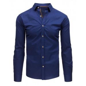 Trendy pánská slim fit košile modrá s potiskem jemných teček