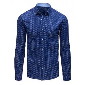Elegantní pánská modrá košile s potiskem a zapínáním na knoflíky
