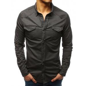 Pánská černá košile s dlouhým rukávem moderního designu