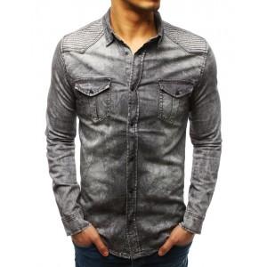 Trendy pánská košile v šedé barvě se zapínáním na druky