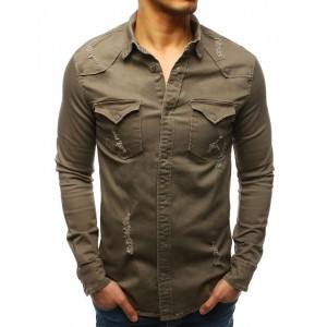 Sportovní pánská khaki košile s dlouhý rukávem a módním designem