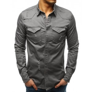 Moderní pánská šedá košile v trendy designu s dvěma předními kapsami