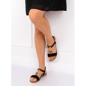 Černé semišové sandály nízké s ozdobnou zlatou přezkou