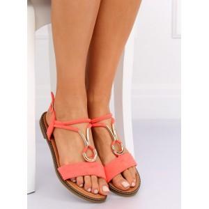 Stylové dámské sandály nízké v módní korálové barvě