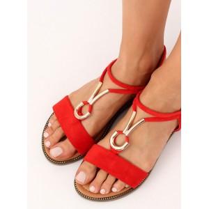 Pohodlné letní dámské červené sandály s ozdobnou zlatou přezkou