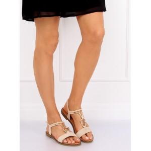 Dámské semišové nízké sandály v béžové barvě s ozdobnou přezkou