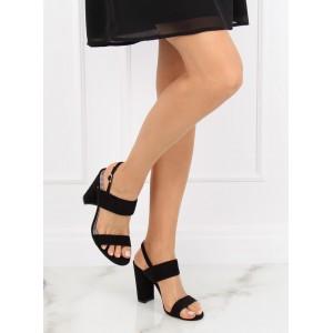 Elegantní černé dámské sandály na vysokém podpatku