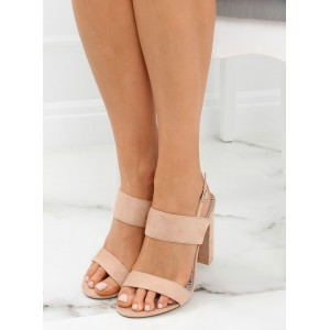 Dámské letní pudrově růžové sandály na plném podpatku