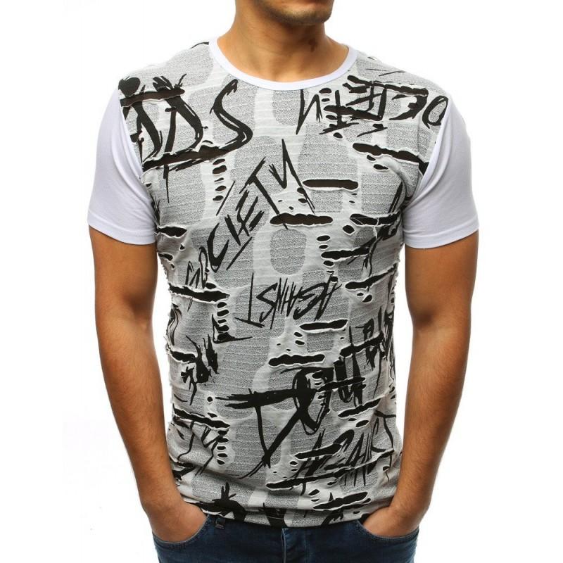 f5f1f5fc9033 Moderní pánské tričko bílé s nápisem a dírami