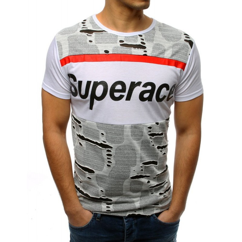 de49276c2ae3 Stylové pánské tričko bílé s módními dírami a krátkým rukávem