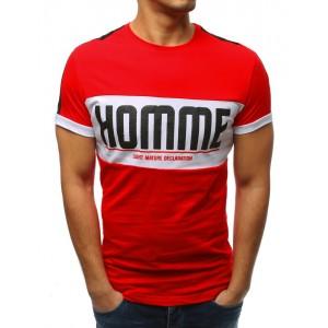 Stylové pánské červené triko s krátkým rukávem a nadpisem