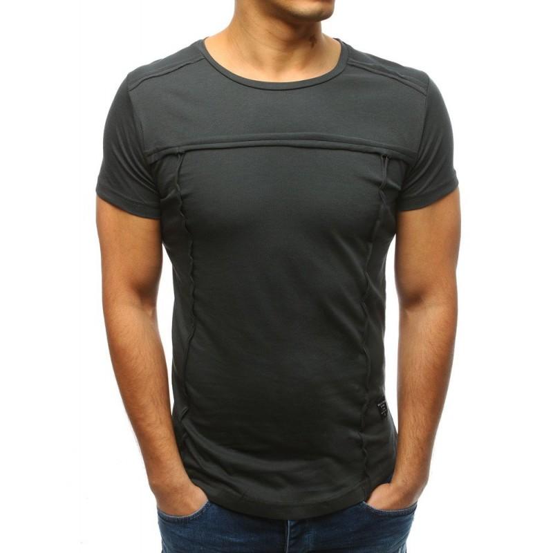 e7ab2da5fd6c Tmavě šedé pánské tričko s krátkým rukávem bez potisku a nápisů