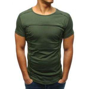 Moderní pánské tričko s krátkým rukávem v zelené barvě bez potisku