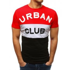 Stylové pánské červené triko s krátkým rukávem s velkým nápisem