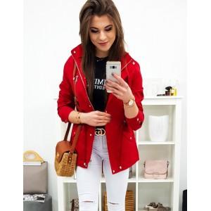 Krásná červená dámská přechodná bunda parka s kapucí
