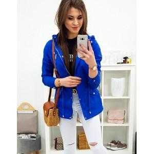 Jarní dámská přechodná bunda s kapucí v krásné modré barvě