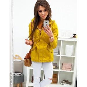 Dámská přechodná jarní žlutá bunda se zapínáním na zip a druky