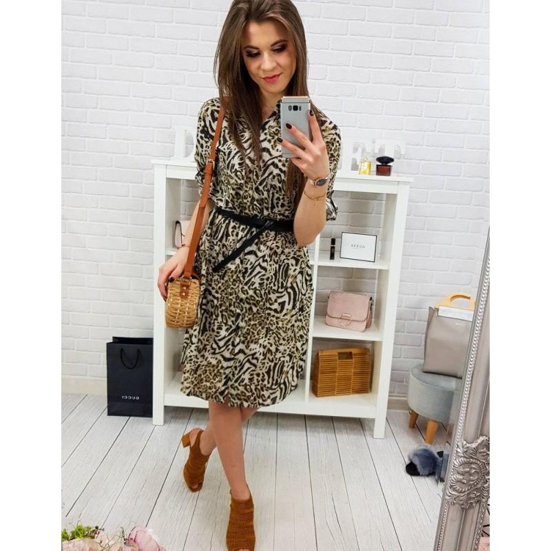 f8e502e25e02 Stylové dámské krátké šaty s rukávy na knoflík a s tygřím vzorem