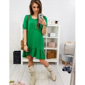 Trendy dámské jarní zelené šaty volného střihu