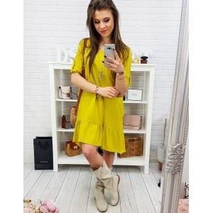 Sportovní dámské žluté šaty s bočními kapsami a ozdobným volánem