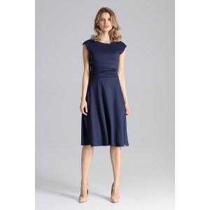 Luxusní dámské šaty s krátkým rukávem tmavě modré