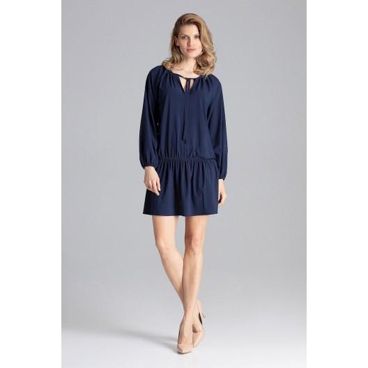 1d8f0f7b58e6 Trendy dámské tmavě modré šaty volného střihu se stahovací gumičkou