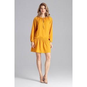 Krásné jarní mini šaty volného střihu ve žluté barvě a s ozdobnou šňůrkou