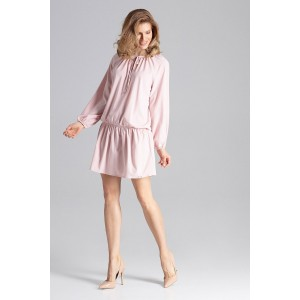 Romantické dámské šaty růžové nad kolena se zdrhovací gumou v pase