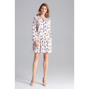 Dámské bílé vzorované mini šaty v pastelových barvách volného střihu