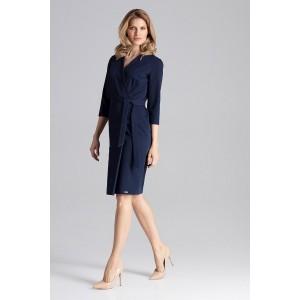 Trendy dámské šaty tmavě modré s překlápěním a trendy páskem