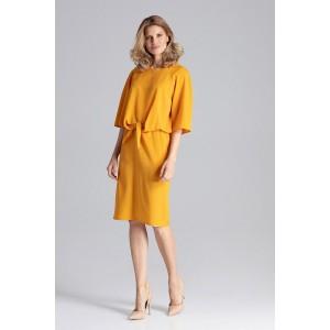 Originální dámské šaty v krásné žluté barvě rovného střihu s vázáním