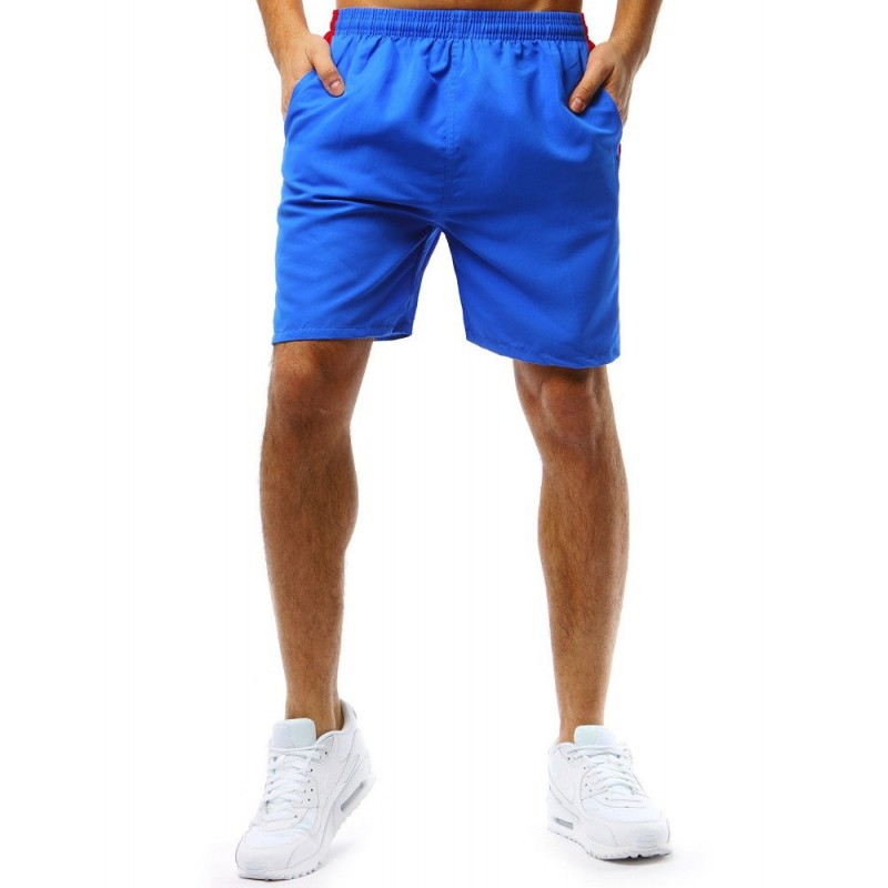 3ffe3bc004e1 Letní modré pánské kraťasy s designovým bílo červeným pásem